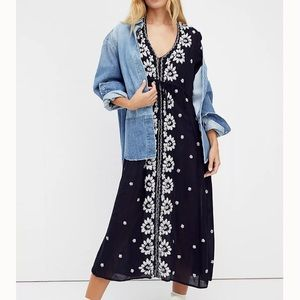Free People Embroidered Fable Midi Dress Size XS